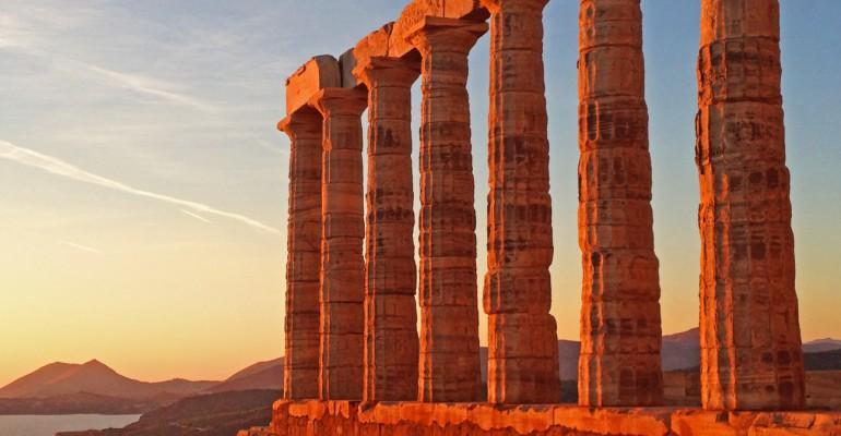 Landgang in Piräus/Athen: Strand + Kultur = Tempel des Posseidon
