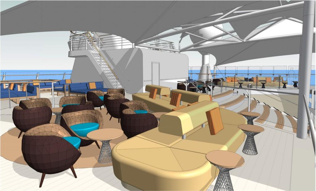 Neuer Loungebereich auf Deck, Tui Cruises